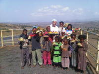 Kyesha with Ethiopian children